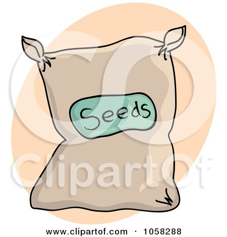 Royalty-Free Vector Clip Art Illustration of a Sack Of Garden Seeds Over A Beige Oval by Pams Clipart