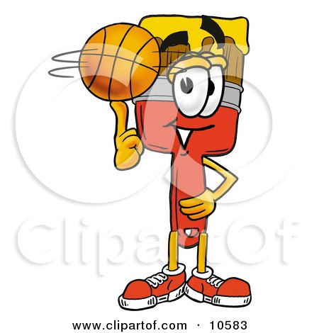 Clipart Picture of a Paint Brush Mascot Cartoon Character Spinning a Basketball on His Finger by Toons4Biz