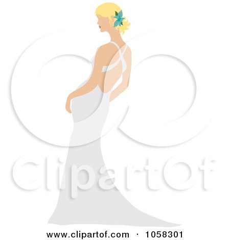 Royalty-Free Vector Clip Art Illustration of a Blond Bride Leaning In Her Gown by Pams Clipart