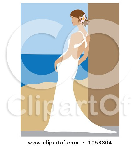 Royalty-Free Vector Clip Art Illustration of a Brunette Bride Leaning In Her Gown - 3 by Pams Clipart