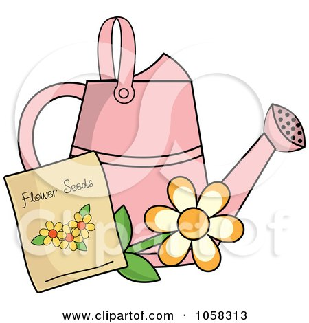 Royalty-Free Vector Clip Art Illustration of a Pink Watering Can With A Packet Of Daisy Seeds by Pams Clipart