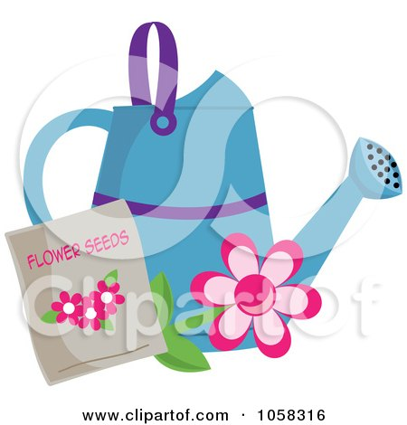 Royalty-Free Vector Clip Art Illustration of a Blue Watering Can With A Packet Of Daisy Seeds by Pams Clipart