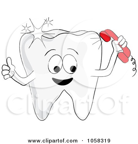 Royalty-Free Vector Clip Art Illustration of a Sparkly Tooth Character Making A Phone Call by Pams Clipart
