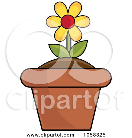 Royalty-Free Vector Clip Art Illustration of a Yellow Potted Daisy Plant - 1 by Pams Clipart