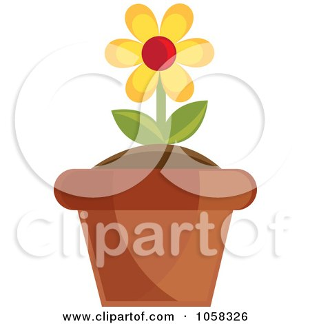 Royalty-Free Vector Clip Art Illustration of a Yellow Potted Daisy Plant - 2 by Pams Clipart