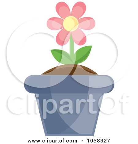 Royalty-Free Vector Clip Art Illustration of a Pink Potted Daisy Plant - 2 by Pams Clipart