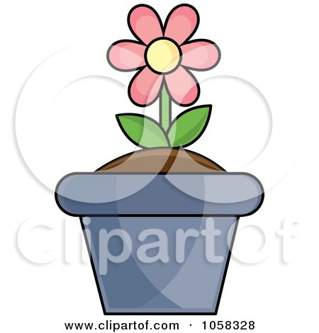 Royalty-Free Vector Clip Art Illustration of a Pink Potted Daisy Plant - 1 by Pams Clipart