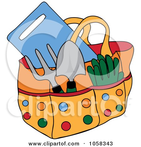 Royalty-Free Vector Clip Art Illustration of a Garden Tote Bag With Tools by Pams Clipart