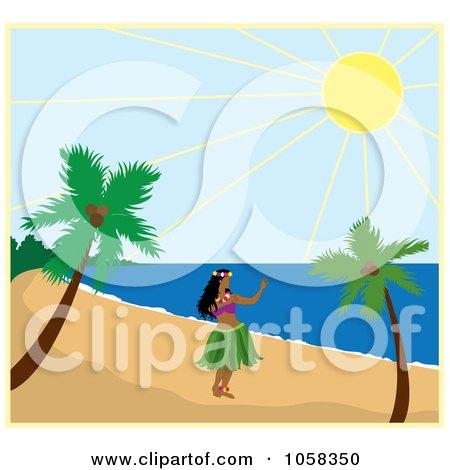 Royalty-Free Vector Clip Art Illustration of a Hawaiian Hula Dancer On A Beach by Pams Clipart