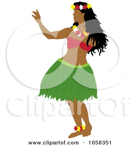 Royalty-Free Vector Clip Art Illustration of a Hawaiian Hula Dancer - 2 by Pams Clipart