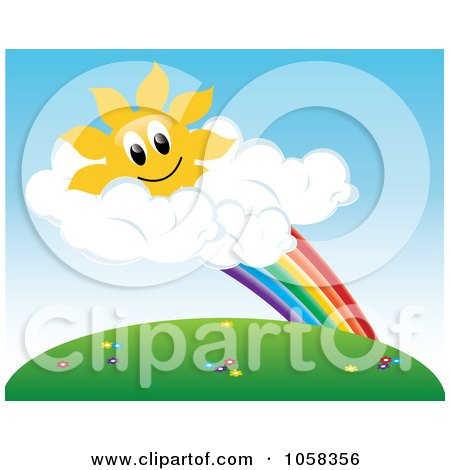 Royalty-Free Vector Clip Art Illustration of a Sun Character In Clouds At The End Of A Rainbow Above A Meadow by Pams Clipart