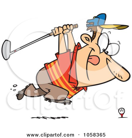Royalty-Free Vector Clip Art Illustration of a Cartoon Approaching Golfer by toonaday
