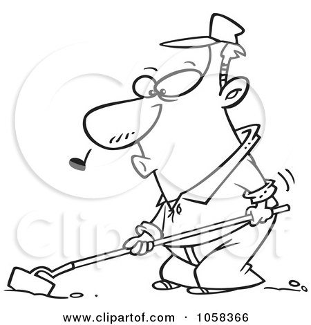 Royalty-Free Vector Clip Art Illustration of a Cartoon Black And White Outline Design Of A Whistling Farmer Cultivating by toonaday
