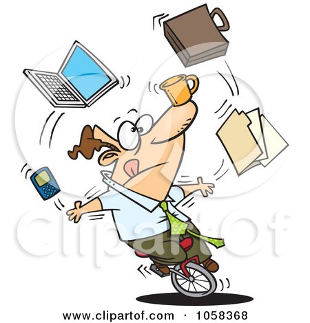 Royalty-Free Vector Clip Art Illustration of a Cartoon Businessman Juggling Tasks On A Unicycle by toonaday