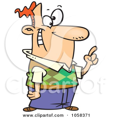 Royalty-Free Vector Clip Art Illustration of a Cartoon Man Reminding by toonaday