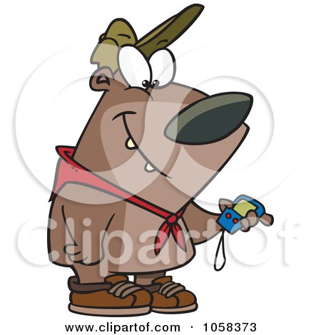Royalty-Free Vector Clip Art Illustration of a Cartoon Hiking Bear Using A GPS Tool by toonaday