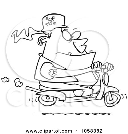Royalty-Free Vector Clip Art Illustration of a Cartoon Black And White Outline Design Of A Biker Dude On A Scooter by toonaday