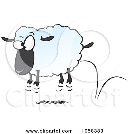 Royalty-Free Vector Clip Art Illustration of a Cartoon Bouncing Sheep by toonaday