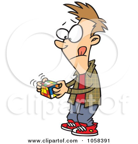 Royalty-Free Vector Clip Art Illustration of a Cartoon Boy Working On A Rubiks Cube by toonaday