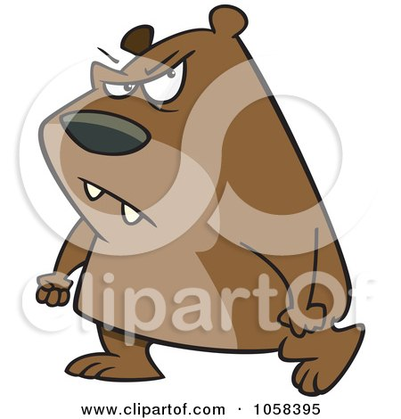Royalty-Free Vector Clip Art Illustration of a Cartoon Surly Bear Walking With Clenched Fists by toonaday
