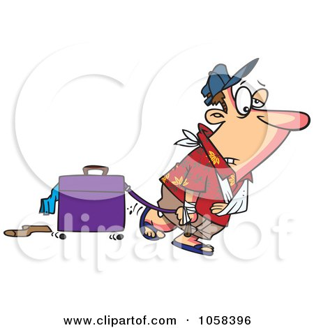 Royalty-Free Vector Clip Art Illustration of a Cartoon Exhausted Man After Vacation by toonaday