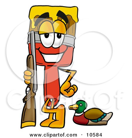 Clipart Picture of a Paint Brush Mascot Cartoon Character Duck Hunting, Standing With a Rifle and Duck by Toons4Biz