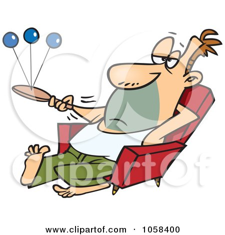 Royalty-Free Vector Clip Art Illustration of a Cartoon Lazy Man Playing Paddle Ball by toonaday