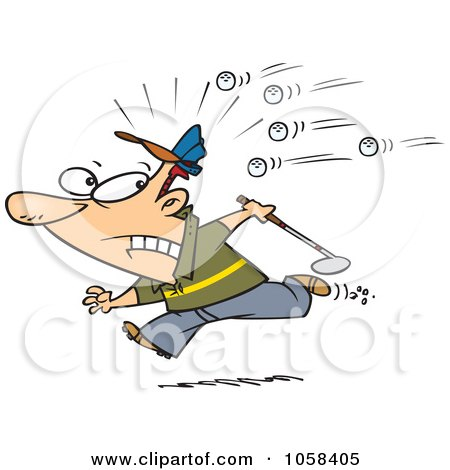 Royalty-Free Vector Clip Art Illustration of a Cartoon Golfer Running Away From Balls by toonaday