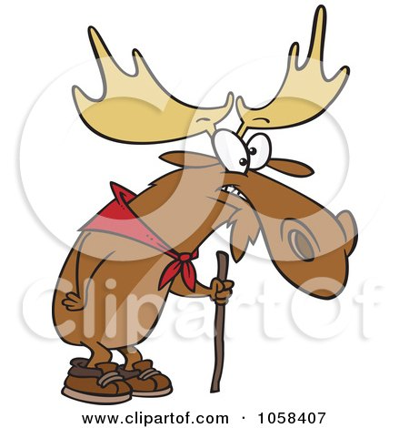 Royalty-Free Vector Clip Art Illustration of a Cartoon Hiking Moose Using A Walking Stick by toonaday