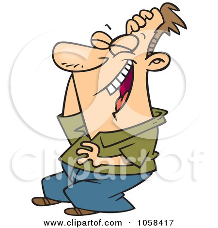 Royalty-Free (RF) Clip Art Illustration of a Cartoon Man Laughing And ...