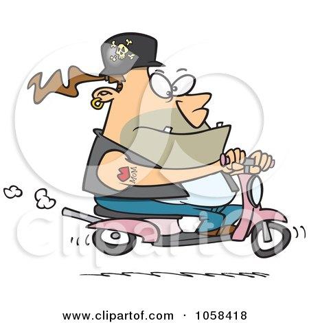 Cartoon Biker Dude On APink Scooter Posters, Art Prints