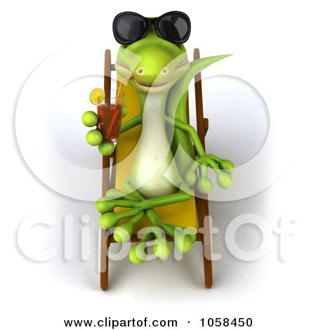 Royalty-Free CGI Clip Art Illustration of a 3d Gecko Sipping A Beverage And Resting On A Lounge Chair - 1 by Julos