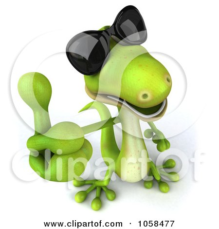 Royalty-Free CGI Clip Art Illustration of a 3d Gecko Character Wearing Shades And Giving A Thumbs Up by Julos