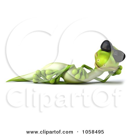 Royalty-Free CGI Clip Art Illustration of a 3d Gecko Character Wearing Shades And Relaxing - 1 by Julos