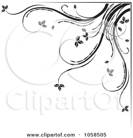 Royalty-Free Vector Clip Art Illustration of a Black And White Ornate Floral Corner Border Design Element - 5 by MilsiArt