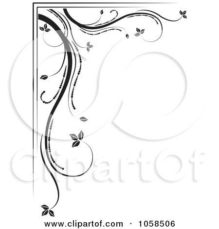 Royalty-Free Vector Clip Art Illustration of a Black And White Ornate Floral Corner Border Design Element - 3 by MilsiArt