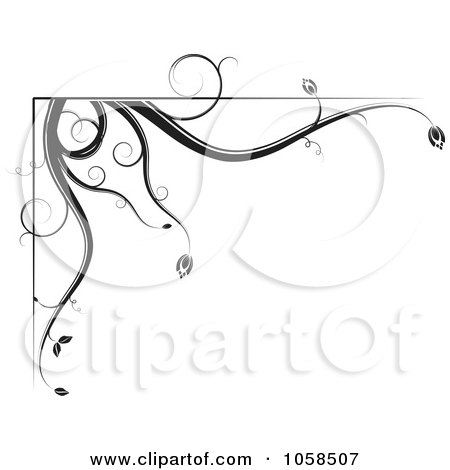 Royalty-Free Vector Clip Art Illustration of a Black And White Ornate Floral Corner Border Design Element - 1 by MilsiArt