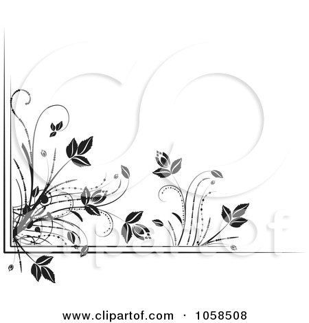 Royalty-Free Vector Clip Art Illustration of a Black And White Ornate Floral Corner Border Design Element - 4 by MilsiArt
