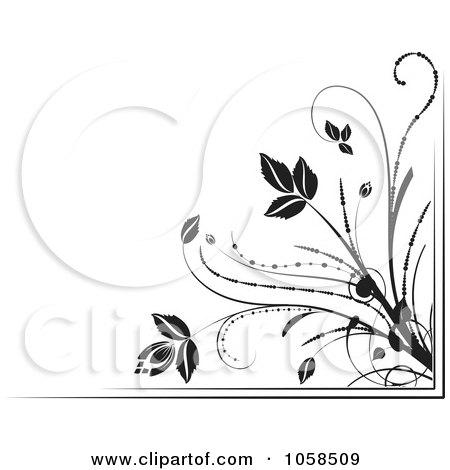 Royalty-Free Vector Clip Art Illustration of a Black And White Ornate Floral Corner Border Design Element - 6 by MilsiArt
