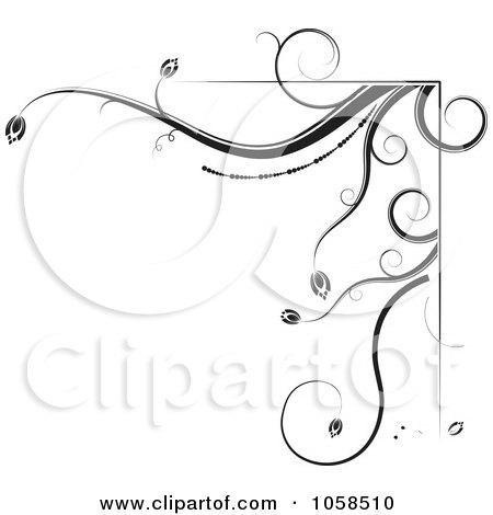 Royalty-Free Vector Clip Art Illustration of a Black And White Ornate Floral Corner Border Design Element - 2 by MilsiArt