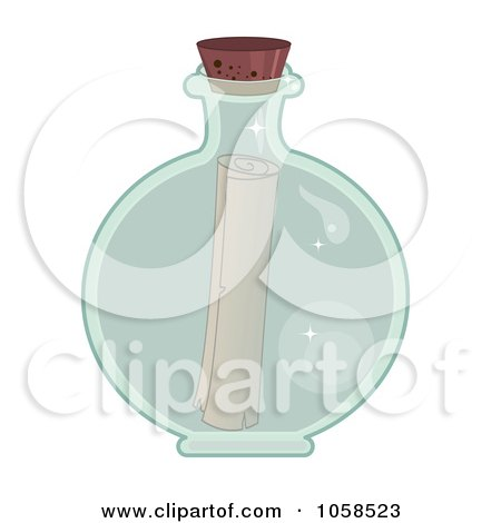 Royalty-Free Vector Clip Art Illustration of a Message In A Clear Round Bottle by Melisende Vector
