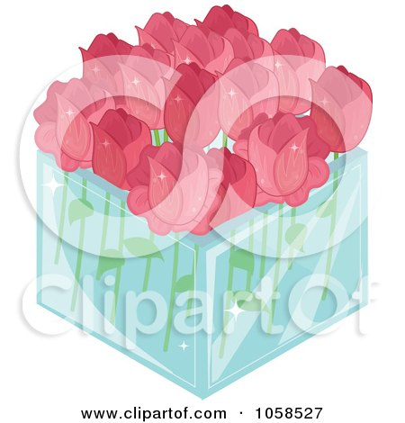 3d Glass Square Vase Of Pink Roses Posters, Art Prints