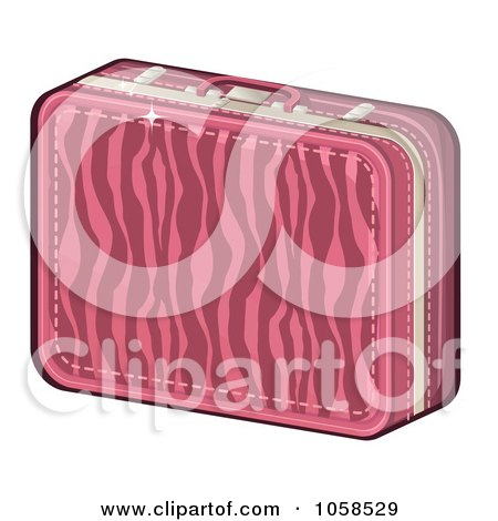 Royalty-Free Vector Clip Art Illustration of a Pink Zebra Print Suitcase by Melisende Vector