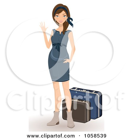 Royalty-Free Vector Clip Art Illustration of a Stylish Woman Waving By Her Luggage by Melisende Vector