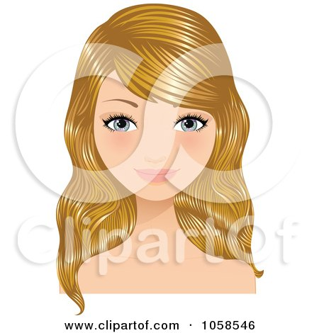 Royalty-Free Vector Clip Art Illustration of a Blond Woman With Long Hair by Melisende Vector