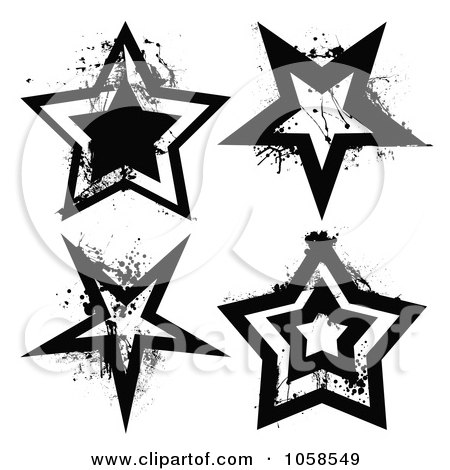 Royalty-Free Vector Clip Art Illustration of a Digital Collage Of Grungy Black And White Star Logos by michaeltravers