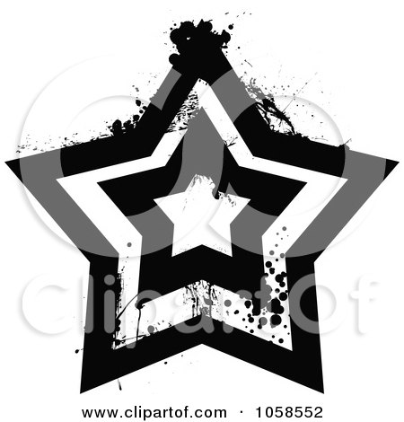 Royalty-Free Vector Clip Art Illustration of a Grungy Black And White Star Logo - 4 by michaeltravers