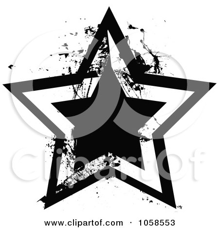 Royalty-Free Vector Clip Art Illustration of a Grungy Black And White Star Logo - 1 by michaeltravers
