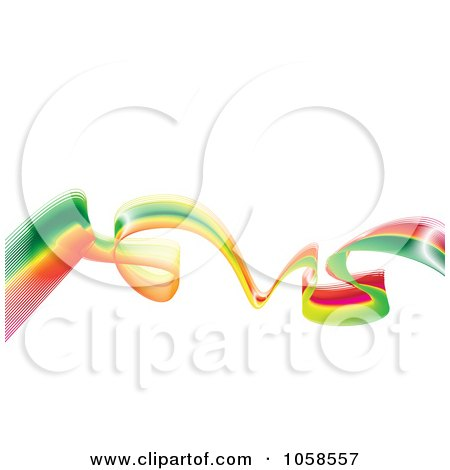 Royalty-Free Vector Clip Art Illustration of a Rasta Wave Over White by michaeltravers