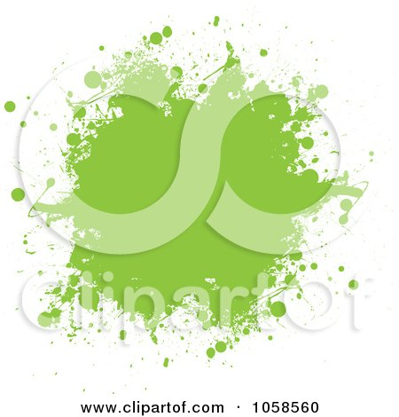 Royalty-Free Vector Clip Art Illustration of a Green Ink Grunge Splat by michaeltravers